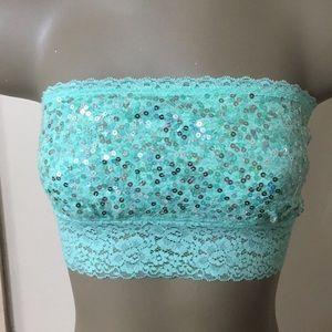 Victoria's Secret PINK Sequin Lace Trim Bandeau
